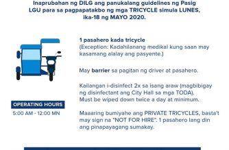 The Pasig government has released its guidelines for passengers and drivers of tricycles in Pasig, which is under a modified enhanced community quarantine./Pasig PIO/