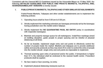 The first page of the guidelines for public and private markets during the modified enhanced community quarantine released by the QC government on Sunday night./QC Facebook/