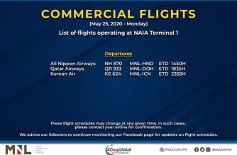 MIAA releases list of operational commercial flights for Monday, May 25