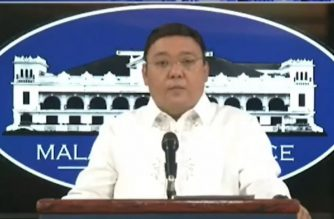 (File photo) Presidential Spokesperson Harry Roque holds a virtual presser in Malacanang on Thursday, May 14, 2020 (Screengrab from PCOO video/Courtesy PCOO/RTVM)