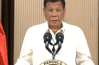 President Rodrigo Duterte on Friday, May 22, announced each of the top graduates of the Philippine Military Academy and the Philippine National Police Academy would receive a house and lot./PCOO/