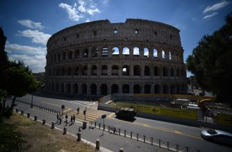 A general view shows the Colosseum monument which reopens to the public on June 1, 2020 in Rome, while the country eases its lockdown aimed at curbing the spread of the COVID-19 infection, caused by the novel coronavirus. - The Colosseum monument reopens on June 1, 2020 after having been closed since March 8, 2020, with adequate sanitary protection for staff and visitors, secure routes, compulsory reservations and modified schedules to avoid crowds at peak times. (Photo by Filippo MONTEFORTE / AFP)