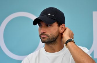 "(FILES) In this file photo taken on June 12, 2020 Bulgarian tennis player Grigor Dimitrov attends a press conference of the Adria Tour, a charity exhibition hosted by Serbian tennis player Novak Djokovic, in Belgrade. - Grigor Dimitrov, world No 19, announced on June 21, 2020 that he had contracted the COVID-19 (the novel coronavirus), a week after taking part in the ""Adria Tour"", organized by Novak Djokovic in Belgrade, and where he had rubbed shoulders with several high-ranking tennis players including the world's number one Serbian. (Photo by Andrej ISAKOVIC / AFP)"