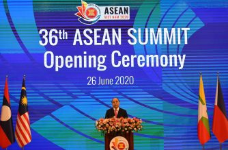 Vietnam's Prime Minister Nguyen Xuan Phuc speaks during the opening ceremony of the Association of Southeast Asian Nations (ASEAN) Summit, held online due to the COVID-19 coronavirus pandemic, in Hanoi on June 26, 2020. (Photo by Nhac NGUYEN / AFP)