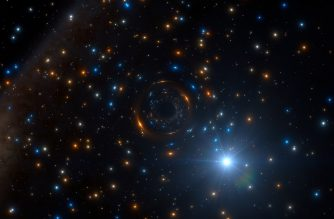 """A handout photo released on January 15, 2018 by the European Southern Observatory shows an artist's impression of a star in the cluster NGC 3201, behaving very strangely, that was discovered by astronomers using ESO's MUSE instrument on the Very Large Telescope in Chile. - It appears to be orbiting an invisible black hole with about four times the mass of the Sun — the first such inactive stellar-mass black hole found in a globular cluster. This important discovery impacts on our understanding of the formation of these star clusters, black holes, and the origins of gravitational wave events.This artist's impression shows how the star and its massive but invisible black hole companion may look, in the rich heart of the globular star cluster. (Photo by L. CALCADA / European Southern Observatory / AFP) / RESTRICTED TO EDITORIAL USE - MANDATORY CREDIT """"AFP PHOTO / / EUROPEAN SOUTHERN OBSERVATORY / L. Calçada"""" - NO MARKETING NO ADVERTISING CAMPAIGNS - DISTRIBUTED AS A SERVICE TO CLIENTS"""