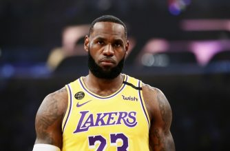 LOS ANGELES, CA - MARCH 10: LeBron James #23 of the Los Angeles Lakers looks on during a game against the Brooklyn Nets at the Staples Center on March 10, 2020 in Los Angeles, CA. NOTE TO USER: User expressly acknowledges and agrees that, by downloading and or using this photograph, User is consenting to the terms and conditions of the Getty Images License Agreement. Mandatory Credit: 2020 NBAE   Chris Elise/NBAE via Getty Images/AFP