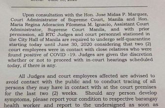 The first page of the memo issued by the Manila executive judge ordering the mandatory quarantine of RTC judges and court personnel stationed at the Manila City Hall, as posted on the SC Twitter account.