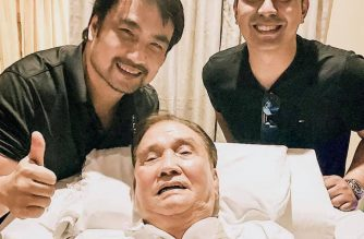 """This picture posted by Cavite Vice Gov. Jolo Revilla shows himself and his smiling grandfather, Ramon Revilla Sr., with Senator Bong Revilla. The patriarch had been rushed to the hospital on Sunday for difficulty of breathing and for being """"somewhat unresponsive,"""" the senator said./Jolo Revilla FB account/"""