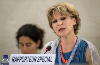United Nations (UN) special rapporteur on extrajudicial, summary or arbitrary executions Agnes Callamard delivers her report of the killing of Saudi journalist Jamal Khashoggi during the United Nations Human Rights Council in Geneva on June 26, 2019. (Photo by FABRICE COFFRINI / AFP)