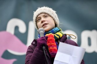 "Swedish environmentalist Greta Thunberg speaks during a  ""Youth Strike 4 Climate"" protest march on March 6, 2020 in Brussels. (Photo by JOHN THYS / AFP)"