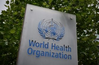 This picture taken on May 12, 2020, shows a sign of the World Health Organization (WHO) in Geneva next to their headquarters, amid the COVID-19 outbreak, caused by the novel coronavirus. (Photo by Fabrice COFFRINI / AFP)