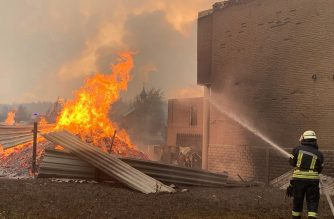 """This handout picture taken and released by the press service of the State Emergency Service of Ukraine on July 7, 2020 shows a firefighter extinguishing a burning structure during a wildfire at Novoaydarivsk district, Lugansk region. - Five people died and nine were hospitalised after a major forest fire in eastern Ukraine, authorities said on July 7. The fire started the day before in the Lugansk region, part of which is in the hands of the pro-Russian separatists, and has spread over more than 80 hectares, the State Emergency Situations Service said in a statement. (Photo by Handout / State Emergency Service of Ukraine / AFP) / RESTRICTED TO EDITORIAL USE - MANDATORY CREDIT """"AFP PHOTO / HANDOUT / STATE EMERGENCY SERVICE OF UKRAINE PRESS SERVICE"""" - NO MARKETING - NO ADVERTISING CAMPAIGNS - DISTRIBUTED AS A SERVICE TO CLIENTS"""