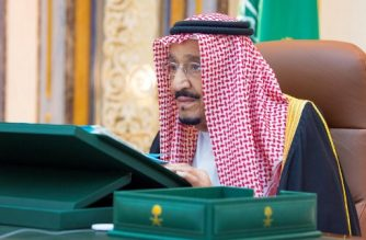 """A handout picture provided by the Saudi Press Agency (SPA) authorities on July 22, 2020, shows King Salman bin Abdulaziz chairing a virtual cabinet meeting from his office at the King Faisal Specialist Hospital in Riyadh. - Ailing Saudi King Salman chaired a virtual cabinet meeting from a hospital office late Tuesday, a day after he was admitted due to gall bladder inflammation, the Saudi Press Agency reported. The report was accompanied by footage from the spacious office in the hospital where the king presided over the meeting from behind a large desk. (Photo by - / SPA / AFP) / === RESTRICTED TO EDITORIAL USE - MANDATORY CREDIT """"AFP PHOTO / HO / SPA"""" - NO MARKETING NO ADVERTISING CAMPAIGNS - DISTRIBUTED AS A SERVICE TO CLIENTS ==="""