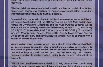 The DOE on Tuesday, July 7, said its compound would be on full lockdown starting tomorrow, July 8, after three of its employees tested positive for COVID-19./DOE/
