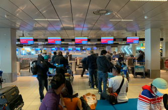 Seafarers at KLM check-in desk in Schiphol Airport for their repatriation flight to Manila on July 3, 2020. Photo courtesy of the Philippine Embassy in The Hague.