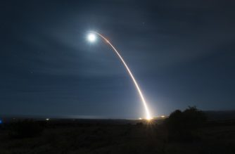 """This US Air Force photo shows an unarmed Minuteman III intercontinental ballistic missile as it launches during a developmental test at 12:33 a.m. Pacific Time on February 5, 2020, at Vandenberg Air Force Base, California. - The United States on February 5, 2020 tested an unarmed Minuteman III intercontinental ballistic missile with a new kind of re-entry vehicle as it seeks to modernize aging surface-to-air weapons. The missile was launched at 0830 GMT from Vandenberg Air Force Base in California, soaring 4,200 miles (6,700 km) across the Pacific to the Kwajalein atoll in the Marshall Islands, the air force said in a statement.It said it was a """"developmental test launch,"""" not a routine test launch like one carried out on October 2. (Photo by Clayton WEAR / US AIR FORCE / AFP) / RESTRICTED TO EDITORIAL USE - MANDATORY CREDIT """"AFP PHOTO /US AIR FORCE /CLAYTON WEAR/ HANDOUT """" - NO MARKETING - NO ADVERTISING CAMPAIGNS - DISTRIBUTED AS A SERVICE TO CLIENTS"""