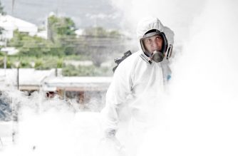 "A municipal employee takes part in a fumigation operation against Aedes aegypti mosquito --the mosquito that can spread dengue fever-- in San Jose, on July 2, 2020. (Photo by Ezequiel BECERRA / AFP) / ""The erroneous mention[s] appearing in the metadata of this photo by Ezequiel BECERRA has been modified in AFP systems in the following manner: [a fumigation operation against Aedes aegypti mosquito --the mosquito that can spread dengue fever] instead of [ a disinfection operation against COVID-19]. Please immediately remove the erroneous mention[s] from all your online services and delete it (them) from your servers. If you have been authorized by AFP to distribute it (them) to third parties, please ensure that the same actions are carried out by them. Failure to promptly comply with these instructions will entail liability on your part for any continued or post notification usage. Therefore we thank you very much for all your attention and prompt action. We are sorry for the inconvenience this notification may cause and remain at your disposal for any further information you may require."""