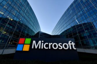 (FILES) In this file photo taken on March 6, 2018 The logo of French headquarters of American multinational technology company Microsoft, is pictured in Issy-Les-Moulineaux, a Paris' suburb. - Microsoft and Zoom on July 7 joined other major internet firms that have stopped considering requests by Hong Kong's government for information on users in the wake of China's imposition of a sweeping new security law. (Photo by GERARD JULIEN / AFP)
