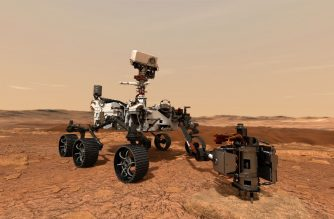 """(FILES) This file NASA illustration, obtained July 20, 2020 shows NASA's Mars 2020 rover as it uses its drill to core a rock sample on Mars. - NASA on July 27, 2020 gave its latest Mars rover Perseverance the all clear to launch later this week on a mission to seek out signs of ancient microbial life. """"The launch readiness review is complete, and we are indeed go for launch,"""" administrator Jim Bridenstine said.""""We are in extraordinary times right now with the coronavirus pandemic, and yet we have in fact persevered and we have protected this mission because it is so important.""""The launch will take place at 7:50 am (1150 GMT) on Thursday from Cape Canaveral, Florida, on board a United Launch Alliance Atlas V rocket. (Photo by Handout / NASA/JPL-CALTECH / AFP) / RESTRICTED TO EDITORIAL USE - MANDATORY CREDIT """"AFP PHOTO /NASA/JPL-CALTECH/HANDOUT """" - NO MARKETING - NO ADVERTISING CAMPAIGNS - DISTRIBUTED AS A SERVICE TO CLIENTS"""
