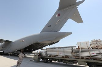Workers load a plane as Qatar begins sending field hospitals and medical aid to Lebanon from the al-Udeid airbase on August 5, 2020 on the outskirts of Doha. - Rescuers searched for survivors in Beirut today after a cataclysmic explosion at the port sowed devastation across entire neighbourhoods, killing more than 100 people, wounding thousands and plunging Lebanon deeper into crisis. (Photo by KARIM JAAFAR / AFP)