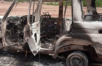 "A handout photo obtained by AFP on August 9, 2020 shows the car where six French tourists, their local guide and the driver were killed by an unidentified gunmen riding motorcycles on August 9, 2020 in an area of southwestern Niger. - A source close to the environmental services said the assault took place around 11.30am (1030 GMT) six kilometres (four miles) east of the town of Koure, which is an hour's drive from the capital Niamey. The source added that the tourists' vehicle belonged to the French humanitarian organisation ACTED. (Photo by - / AFP) / RESTRICTED TO EDITORIAL USE - MANDATORY CREDIT ""AFP PHOTO"" - NO MARKETING NO ADVERTISING CAMPAIGNS - DISTRIBUTED AS A SERVICE TO CLIENTS"