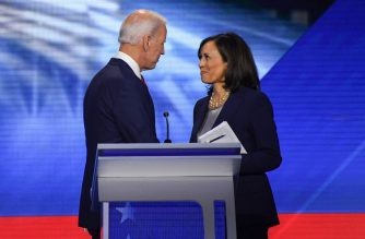 Former Vice President Joe Biden and Senator Kamala Harris speak on September 12, 2019, in Houston, Texas, after the third Democratic primary debate of the 2020 presidential campaign season hosted by ABC News in partnership with Univision at Texas Southern University in Houston, Texas. - Biden named Harris, a high-profile black senator from California, as his vice presidential choice on August 11, 2020, capping a months-long search for a Democratic partner to challenge President Donald Trump in November. (Photo by Robyn Beck / AFP)