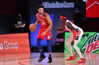 Orlando, FL - AUGUST 5: Ben Simmons #25 of the Philadelphia 76ers handles the ball against the Washington Wizards on August 5, 2020 at The Arena at ESPN Wide World of Sports in Orlando, Florida. NOTE TO USER: User expressly acknowledges and agrees that, by downloading and/or using this Photograph, user is consenting to the terms and conditions of the Getty Images License Agreement. Mandatory Copyright Notice: Copyright 2020 NBAE   Jesse D. Garrabrant/NBAE via Getty Images/AFP