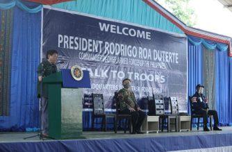 President Rodrigo Duterte alks to troops of the Joint Task Force Sulu in Jolo. (Photo courtesy Sen. Bong Go)