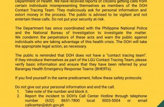 The DOH has cautioned the public against fake contact tracers amid the COVID-19 health crisis./DOH/