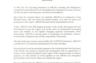 President Rodrigo Duterte called for cooperation among ASEAN member-states amid the COVID-19 pandemic in his message on the 53rd founding anniversary of the regional bloc./PCOO/