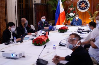 President Rodrigo Duterte met with Cabinet members on Sunday night to discuss the call of medical groups for Mega Manila to return to an enhanced community quarantine for two weeks to allow them to recover from exhaustion./C/o Senator Bong Go/