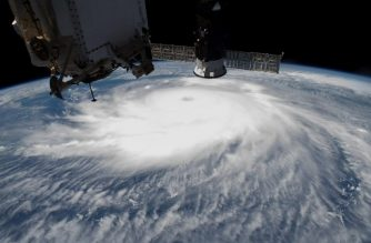 "This NASA handout photo released August 30, 2020 shows Hurricane Laura  pictured on August 26, 2020 in the afternoon off the coast of the Texas-Louisiana border as the International Space Station orbited above the Gulf of Mexico. - US President Donald Trump on August 29, 2020 visited Louisiana and Texas, pummeled this week by Hurricane Laura though the storm did not inflict the catastrophic damage and death toll of Hurricane Katrina 15 years ago. (Photo by Handout / NASA / AFP) / RESTRICTED TO EDITORIAL USE - MANDATORY CREDIT ""AFP PHOTO /NASA/HANDOUT "" - NO MARKETING - NO ADVERTISING CAMPAIGNS - DISTRIBUTED AS A SERVICE TO CLIENTS"