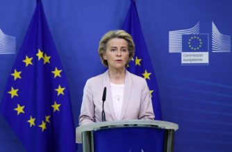 President of the European Commission, Ursula Von der Leyen, announces the replacement of Ireland's Commissioner, Phil Hogan, whose portfolio will be taken by Latvia's Commissioner Valdis Dombrovskis, on September 8, 2020 in Brussels. - This change comes as the Ireland's commissioner was obliged to resign after non compliance with sanitary measures. (Photo by Aris Oikonomou / POOL / AFP)