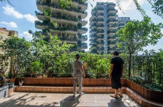This photo taken on August 3, 2020 shows residents looking on from a balcony covered with plants in their apartment at a residential community in Chengdu in China's southwestern Sichuan province. - An experimental green housing project in China's southwestern Chengdu city appears to have been overrun by its own plants, with state media reporting that only a handful of buyers have moved in. (Photo by STR / AFP) / China OUT