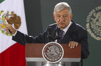 "(FILES) In this file picture taken on January 10, 2020 Mexican President Andres Manuel Lopez Obrador speaks during his daily morning press conference in Ciudad Juarez, Chihuahua State, Mexico. - Lopez Obrador said on September 14, 2020 that he was ready to request a referendum on whether to prosecute several of his predecessors accused of corruption. The president said that if campaigners fail to gather enough signatures in support of a ""people's consultation,"" he would ask the Senate for such a vote himself. (Photo by Herika MARTINEZ / AFP)"