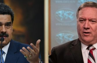 "(FILES) (COMBO) This file combination of pictures created on March 26, 2020 shows Venezuela's President Nicolas Maduro (L) on February 14, 2020, in Caracas, and US Secretary of State Mike Pompeo on March 17, 2020, in Washington DC. - US Secretary of State Mike Pompeo used his visit to Guyana in South America on September 18, 2020 to increase pressure on President Nicolas Maduro to leave power in neighbouring Venezuela. ""We know that the Maduro regime has decimated the people of Venezuela and that Maduro himself is an indicted narcotics trafficker. That means he has to leave,"" Pompeo said during a joint press conference with President Irfaan Ali in Georgetown. (Photos by Yuri CORTEZ and NICHOLAS KAMM / AFP)"