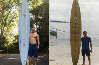 """(COMBO) This combination image of two handout photographs show, at left, a picture taken by Brent Bielman on October 18, 2015 of surfer Doug Falter posing with his surfboard in Hawaii, and at right, an undated picture taken in 2020 courtesy of Giovanne Branzuela showing Branzuela posing with the same surfboard on Sarangani island in the Philippines. - When big wave surfer Doug Falter lost his board in a wipeout in Hawaii, his best hope was for a fisherman to find it. He never imagined it would be over 8,000 kilometres (5,000 miles) away in the southern Philippines. (Photo by Handout / various sources / AFP) / TO GO WITH PHILIPPPINES-SURFING,FOCUS BY MIKHAIL FLORES ---- RESTRICTED TO EDITORIAL USE - MANDATORY CREDIT """"AFP PHOTO / BRENT BIELMAN / COURTESY OF GIOVANNE BRANZUELA"""" - NO MARKETING - NO ADVERTISING CAMPAIGNS - DISTRIBUTED AS A SERVICE TO CLIENTS  - NO ARCHIVES /"""