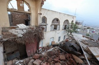 A picture shows a view of the wrecked roof of a historic building which collapsed due to floods, within the National Museum complex of Yemen's third city of Taez, on September 27, 2020. - Established as an Ottoman palace, then a residence for one of Yemen's last kings, the building became a museum in 1967 but has since then been bombed and its collections pilfered. A partial restoration in 2019 left damaged parts exposed, making the structure vulnerable to the deluge which hit the country in recent months. (Photo by - / AFP)
