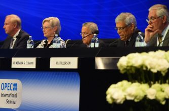(L-R) British energy giant BP CEO Bob Dudley, Executive Director of the International Energy Agency, Dutch Maria van der Hoeven, Saudi Arabia's oil minister Ali al-Naimi, OPEC Secretary-General Abdalla Salem El-Badri and Exxon Mobil Chairman and CEO Rex Tillerson attend the Organization of the Petroleum Exporting Countries (OPEC) 's 6th International seminar at Hofburg Place on June 3, 2015 in Vienna, prior to Friday's OPEC meeting. AFP PHOTO / JOE KLAMAR (Photo by JOE KLAMAR / AFP)