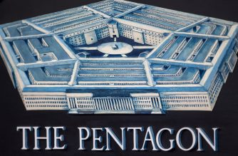 The Pentagon logo seen during a media briefing October 21, 2014, in the Press Room of the Pentagon in Washington.        AFP PHOTO/Paul J. Richards (Photo by PAUL J. RICHARDS / AFP)