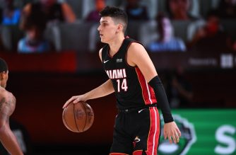 ORLANDO, FL - SEPTEMBER 6: Tyler Herro #14 of the Miami Heat handles the ball during the game against the Milwaukee Bucks during Game Four of the Eastern Conference Semifinals of the NBA Playoffs on September 6, 2020 at The AdventHealth Arena at ESPN Wide World Of Sports Complex in Orlando, Florida. NOTE TO USER: User expressly acknowledges and agrees that, by downloading and/or using this Photograph, user is consenting to the terms and conditions of the Getty Images License Agreement. Mandatory Copyright Notice: Copyright 2020 NBAE   Garrett Ellwood/NBAE via Getty Images/AFP