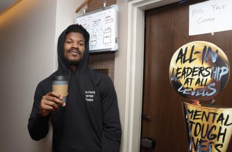 "ORLANDO, FL - SEPTEMBER 29: Jimmy Butler of the Miami Heat poses outside his door for ""Big Face Coffee"" as part of the NBA Restart 2020 on September 29, 2020 at the hotel in Orlando, Florida. NOTE TO USER: User expressly acknowledges and agrees that, by downloading and/or using this photograph, user is consenting to the terms and conditions of the Getty Images License Agreement. Mandatory Copyright Notice: Copyright 2020 NBAE   Jim Poorten/NBAE via Getty Images/AFP"