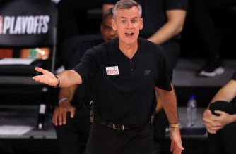 LAKE BUENA VISTA, FLORIDA - SEPTEMBER 02: Billy Donovan of the Oklahoma City Thunder during the second quarter against the Houston Rockets in Game Seven of the Western Conference First Round during the 2020 NBA Playoffs at AdventHealth Arena at ESPN Wide World Of Sports Complex on September 02, 2020 in Lake Buena Vista, Florida. NOTE TO USER: User expressly acknowledges and agrees that, by downloading and or using this photograph, User is consenting to the terms and conditions of the Getty Images License Agreement.   Mike Ehrmann/Getty Images/AFP