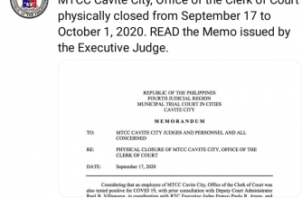 MTCC Cavite City, Office of the Clerk of Court physically closed until Oct. 1
