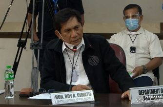 Secretary Roy Cimatu of the Department of Environment and Natural Resources (DENR) explains safety of dolomite particles being used to cover a portion of Manila Bay shoreline near the US Embassy in Manila on Sept. 8, 2020 during budget deliberations at the House of Representatives (Screenshot of House of Representatives video/Courtesy House of Representatives)