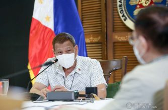 President Rodrigo Roa Duterte presides over the meeting with the Inter-Agency Task Force on the Emerging Infectious Diseases (IATF-EID) core members prior to his talk to the people at the Arcadia Active Lifestyle Center in Davao City on September 21, 2020. ALBERTO ALCAIN/ PRESIDENTIAL PHOTO