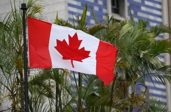 The Canadian flag flies outside the Canadian Embassy in Caracas on June 03, 2019. - Canada announced Sunday it was temporarily shutting its embassy in Venezuela, blaming President Nicolas Maduro for refusing to accredit diplomats critical of his regime. (Photo by Marvin RECINOS / AFP)