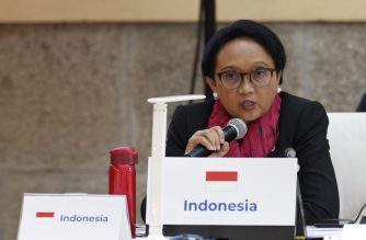 Indonesia's Foreign Minister Retno Marsudi attends the 14th ASEM Foreign Ministers' Meeting at the Royal Palace of El Pardo near Madrid on December 16, 2019. (Photo by Javier Lizon / POOL / AFP)