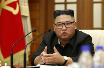 """In this picture taken on September 29, 2020 and released from North Korea's official Korean Central News Agency (KCNA) on September 30, 2020 North Korean leader Kim Jong Un speaks during a meeting of the Political Bureau of the Central Committee of the Workers' Party of Korea (WPK) in Pyongyang. (Photo by STR / KCNA VIA KNS / AFP) / South Korea OUT / ---EDITORS NOTE--- RESTRICTED TO EDITORIAL USE - MANDATORY CREDIT """"AFP PHOTO/KCNA VIA KNS"""" - NO MARKETING NO ADVERTISING CAMPAIGNS - DISTRIBUTED AS A SERVICE TO CLIENTS / THIS PICTURE WAS MADE AVAILABLE BY A THIRD PARTY. AFP CAN NOT INDEPENDENTLY VERIFY THE AUTHENTICITY, LOCATION, DATE AND CONTENT OF THIS IMAGE --- /"""