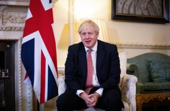 "Britain's Prime Minister Boris Johnson gestures during a meeting with Ukraine's President Volodymyr Zelensky inside number 10 Downing Street, in central London on October 8, 2020. - Britain and Ukraine will on Thursday sign a ""strategic partnership agreement"" to support Kiev's sovereignty ""in the face of Russia's destabilising behaviour"", Prime Minister Boris Johnson's office said. (Photo by Aaron Chown / POOL / AFP)"